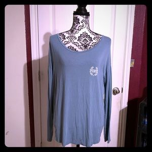 Pink long sleeve boat neck top aqua blue